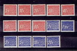 217 P1 - Bohème&Moravie - Bohmen Und Mahren - Cechy A Morava - Taxe 1-14 MNH Neuf Impeccable - Ungebraucht