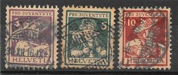Suisse N°151 3c (+2), N°152 5c (+5), N°153 10c (+5) Pro-Juventute 1916 O - Pro Juventute