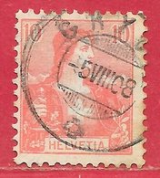 Suisse N°116 Helvetia 10c Rose (GRYON 5 VIII 08) 1907-17 O - Suiza