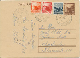 Italy Postal Stationery Postcard Uprated And Sent To Germany Merano 14-10-1947 - 6. 1946-.. Republic