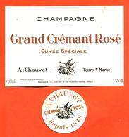 étiquette + Collerette De Champagne Grand Crémant Rosé A Chauvet à Tours Sur Marne - 75 Cl - Champagne