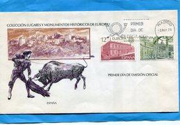 Marcophilie+FDC ESPAGNE-enveloppe Illustrée -corrida -EUROPA 1978-Stamps N°2119-0 - FDC