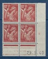 "FR Coins Datés YT 431 "" Iris 80c. Brun-carmin "" Neuf** Du 29.5.1940 - 1940-1949"