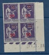 """FR Coins Datés YT 478 """" Paix 50c. S. 55c. Violet """" Neuf** Du 11.1.1938 - 1940-1949"""