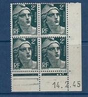 """FR Coins Datés YT 713 """" Gandon 2F Vert """" Neuf** Du 14.2.1945 - 1940-1949"""