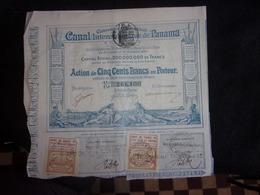 Canal Interocéanique  De Panama .Action De 500 Francs Au Porteur.Voir 2 Scans . - Shareholdings