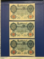 GERMANY 3 BANKNOTES 20 MARK 1914 CONTINUOUS NUMBERS UNC - [ 2] 1871-1918 : Duitse Rijk