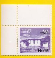 BHUTAN 2001 Nu 15 Surcharge Overprint On Nu 1 1984 Stamp Monastries W/ Vertical Alignment Bar. RARE!!! - Bhoutan