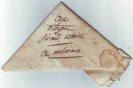 Lettre TRIANGULAIRE , Pliage De FRANC MACON ... De Lyon 1800 Pour Amberieux - Marcophilie (Lettres)