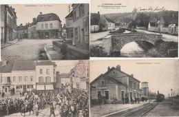 4 CPA:VILLENAUXE (10) VILLENAUXE LA GRANDE CHAR DANS RUE CAVALCADE EN 1904,RUE DU CHÂTEAU,TRAIN GARE,PONT DE LA NOXE - France