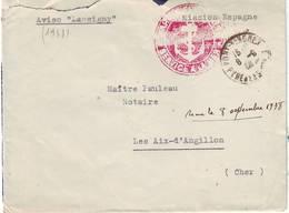 MISSION FRANCAISE EN ESPAGNE , Aviso LASSIGNY , GUERRE D' ESPAGNE Septembre 1938 , RARE !!!! - Marcophilie (Lettres)
