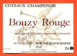 étiquette De Coteaux Champenois Bouzy Rouge A Chauvet à Tours Sur Marne - 37,5 Cl - Champagne