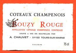 étiquette Ancienne De Coteaux Champenois Bouzy Rouge A Chauvet à Tours Sur Marne - 75 Cl - Champagne