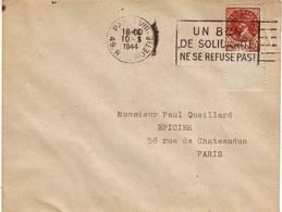 FAUX PETAIN , Timbre DE GAULLE Obl MECANIQUE Paris Mars 1944 Sur Lettre RARE , GUERRE DE 40 Liberation - Marcophilie (Lettres)
