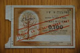 Rationnement - Billet Matiere Bois 0,100 Surcharge - Bons & Nécessité