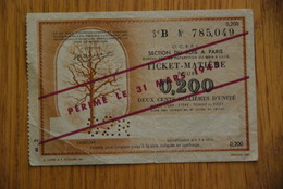 Rationnement - Billet Matiere Bois 0,200 Surcharge Serie B - Bons & Nécessité