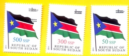 SOUTH SUDAN 2017 Surcharge Overprint VARIETY Thin Font 50, 50, 300 & 500 SSP On 1 SSP Flag Stamp Südsudan Soudan Du Sud - Sudán Del Sur