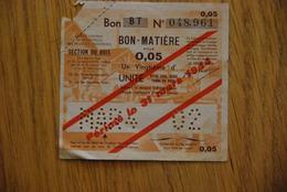 Rationnement - Billet Matiere Bois Série BT Surcharge - Buoni & Necessità