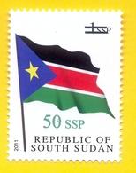 SOUTH SUDAN 2017 Surcharge Overprint VARIETY Thin Font 50 SSP On 1 SSP Flag Stamp Südsudan Soudan Du Sud - Sudán Del Sur
