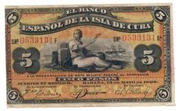 KUBA5PESOS15/05/1896P48VFPLATA Overprint - 48B.CV. - Cuba