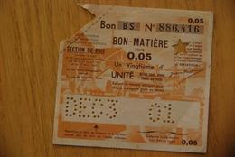 Rationnement - Billet Matiere Bois Série BS Surcharge - Bons & Nécessité