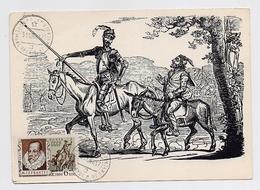 CARTE MAXIMUM CM Card USSR RUSSIA Literature Spain Writer Cervantes Don Quichotte Painting Kruikshein - Cartes Maximum