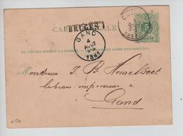 CBPND39/ Entier CP 5C Lion C.AMBT OUEST 2 1881 + Griffe Encadrée BRUGES > Gand C.d'arrivée Trou D'épingle - Storia Postale