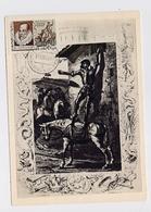 CARTE MAXIMUM CM Card USSR RUSSIA Literature Spain Writer Cervantes Don Quichotte Horse Painting Granvil - Cartes Maximum