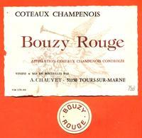 étiquette + Collerette De Coteaux Champenois Bouzy Rouge A Chauvet à Tours Sur Marne - 75 Cl - Champagne