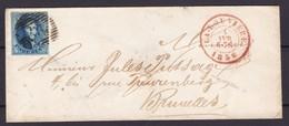 N° 7 Margé / Lettre De LA LOUVIERE Vers Bruxelles Du 4 Avril 1856 Lsc Petite Enveloppe - 1851-1857 Medaillen (6/8)
