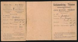SOLDATENKRING THIENEN - AANWEZIGHEIDSKART MILITAIRE MIS - MILITIEKLAS 1922 - LAATSTE DEEL IS LOS  ZIE AFBEELDINGEN - Documents