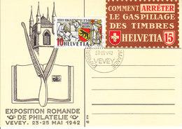 EXPO PHILATELIQUE DE VEVEY 1942 AVEC VIGNETTE ORIGINALE ..RRR - Svizzera