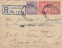 REGISTERED LETTER. 24 8 27. REGISTERED LONDON TO EPINAY-S-ORGE. 1p, 1 1/2p, 3p PERFIN. CPR. CACHET FACTEUR 7/2 - 1902-1951 (Kings)