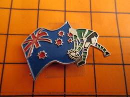 0120 Pin's Pins / Beau Et Rare  / THEME SPORTS / RUGBY COUPE DU MONDE DRAPEAU AUSTRALIE NOUVELLE ZELANDE - Rugby