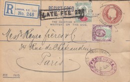 REGISTERED LETTER. 7 7 05. REGISTERED LONDON TO PARIS. LATE FEE 2.   1 1/2p, 2p PERFIN. HUT. FREDk HUT - 1902-1951 (Kings)
