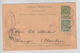 CBPND41/ Entier CP 5c Armoiries+TP 56 Perforé B&C C.firme Braunschweig &Cie C.Ambt Anvers-BXL 4 1905 > Aachen - Bahnpoststempel
