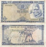 Zambia - 10 Kwacha 1976 VF Pick 22 Lemberg-Zp - Zambia