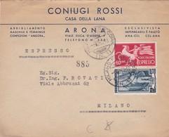 BUSTA VIAGGIATA ESPRESSO - ARONA (NOVARA) CONIUGI ROSSI - CASA DELLA LANA - VIAGGIATA PER MILANO - 6. 1946-.. Repubblica
