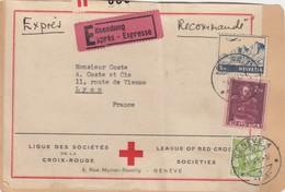ETIQUETTE COLIS. LIGUE DES SOCIETES DE LA CROIX ROUGE. GENEVE. RECOMMANDE EXPRES GENEVE POUR LYON. 7,35Fr - Suisse