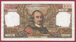 """100 Francs """"Corneille"""" Du 01/09/1966.D---F/TTB+---ALPH.T.180 - 1962-1997 ''Francs''"""