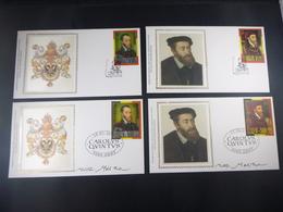 "BELG.2000 2887 & 2888 FDC's Zijde/soie Plus Spanisch Items : "" Carlos V  "" - FDC"