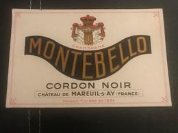 A BUVARD Ancien CHAMPAGNE MONTEBELLO CORDON NOIR MAREUIL SUR AY - Blotters