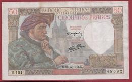 """50 Francs """"Jacques Coeur"""" Du 18/12/1941.K----VG/TTB---ALPH.U.151--1 TROU D EPINGLE - 1871-1952 Circulated During XXth"""