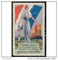 France WWI Anti-German Commercial Propaganda Cinderella Poster Stamp - Unclassified