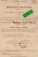 VP16.725 - MILITARIA - BAR - LE - DUC 1921 - Médaille Militaire - F.M MATHYSSEN Mort Pour La France à L'Est De MORVAL - Documenten