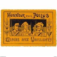France WWI Honneur Poilus Gloire Aux Vaillants Stamps Vignette Poster Stamp - Commemorative Labels