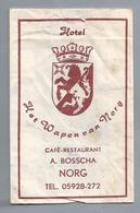 Suikerzakje.- NORG HOTEL CAFÉ RESTAURANT - HET WAPEN VAN NORG - A. BOSSCHA. Suiker Sucre Zucchero Zucker Sugar - Suiker