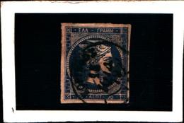10266) 1861-62 Greece/Grecia, 20 Lepta BLU - N° 14- USATO- - Oblitérés