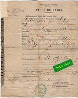 VP16.728 - MILITARIA - PARIS 1888 - Préfecture De Police - Document Concernant Mr Jean Hubert MATHYSSEN - Police & Gendarmerie