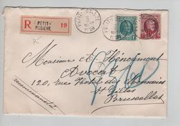 CBPND45/ TP 208-246 Albert Houyoux S/L.Recommandée C.Petit-Rosière 2/10/1928 > BXL - Briefe U. Dokumente